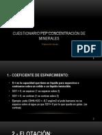 Cuestionario PEP Concentración de Minerales