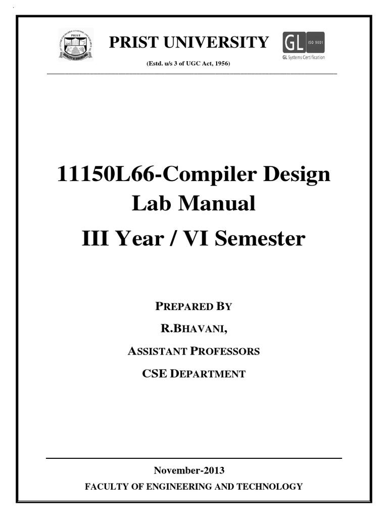 Compiler Lab Manual Final E Content Parsing Compiler