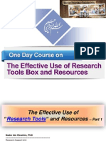 One Day Course on The Effective Use of Research Tools Box and Resources - Part 1