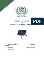 Solar Tracker Astr Synopsis