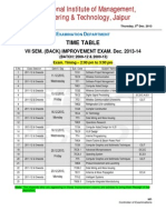 Back Improvement Exam TimeTable of VII Sem. 2013-14
