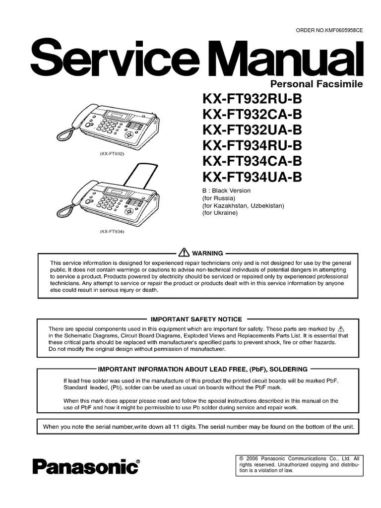 Инструкция panasonic kx ft934 скачать