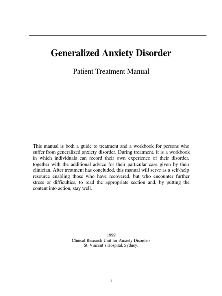 Generalized Anxiety Disorder - Patient Treatment Manual ...