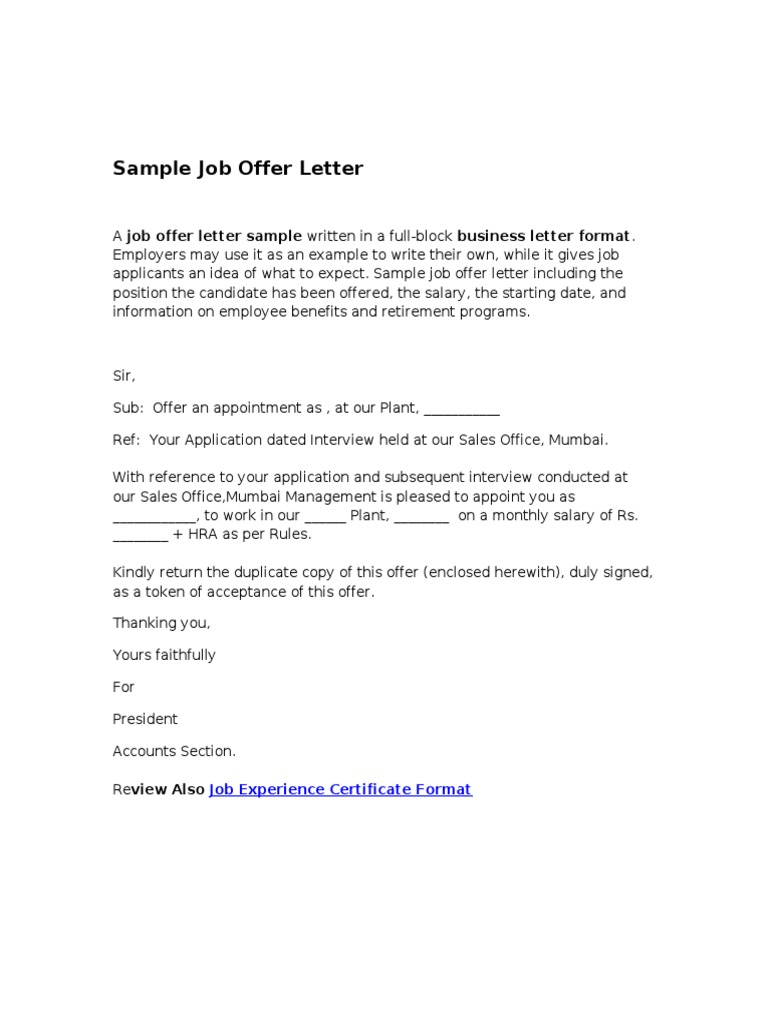 Sample Job Offer Letter