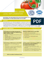 Certified ISO 22000 Lead Implementer - Four Page Brochure