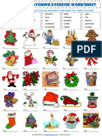 Christmas Vocabulary Matching Exercise Worksheet