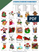 Christmas Vocabulary Matching Exercise Worksheet