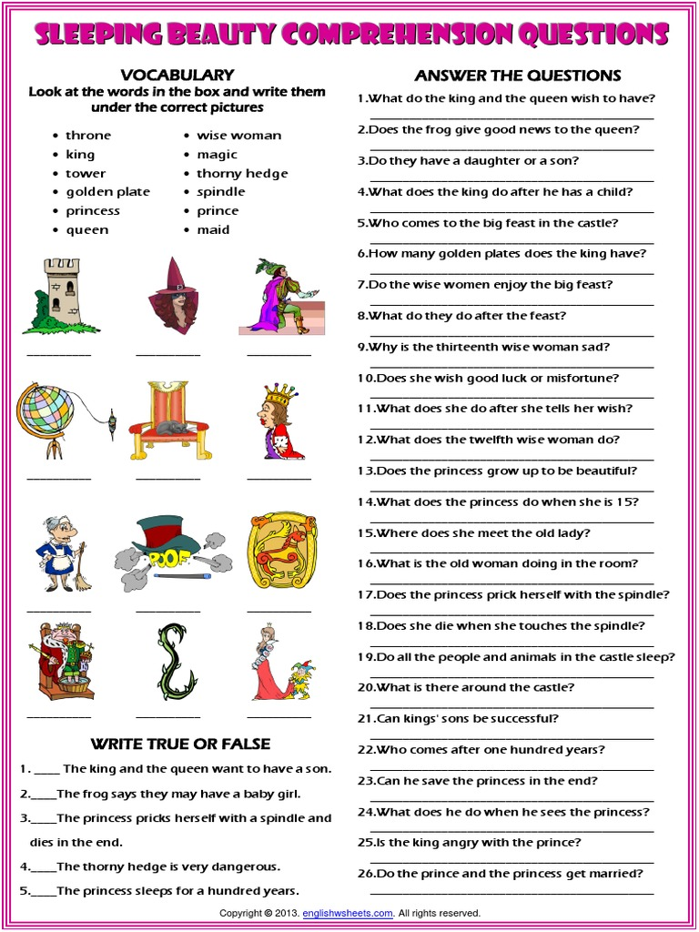 Sleeping Beauty Fairy Tale Comprehension Questions