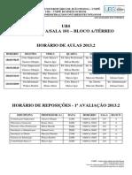 HORÁRIO DE AULAS E PROVAS REPOSIÇÃO 1º ESTÁGIO-2013.2-UBS-ADM-CONTÁBEIS (1)
