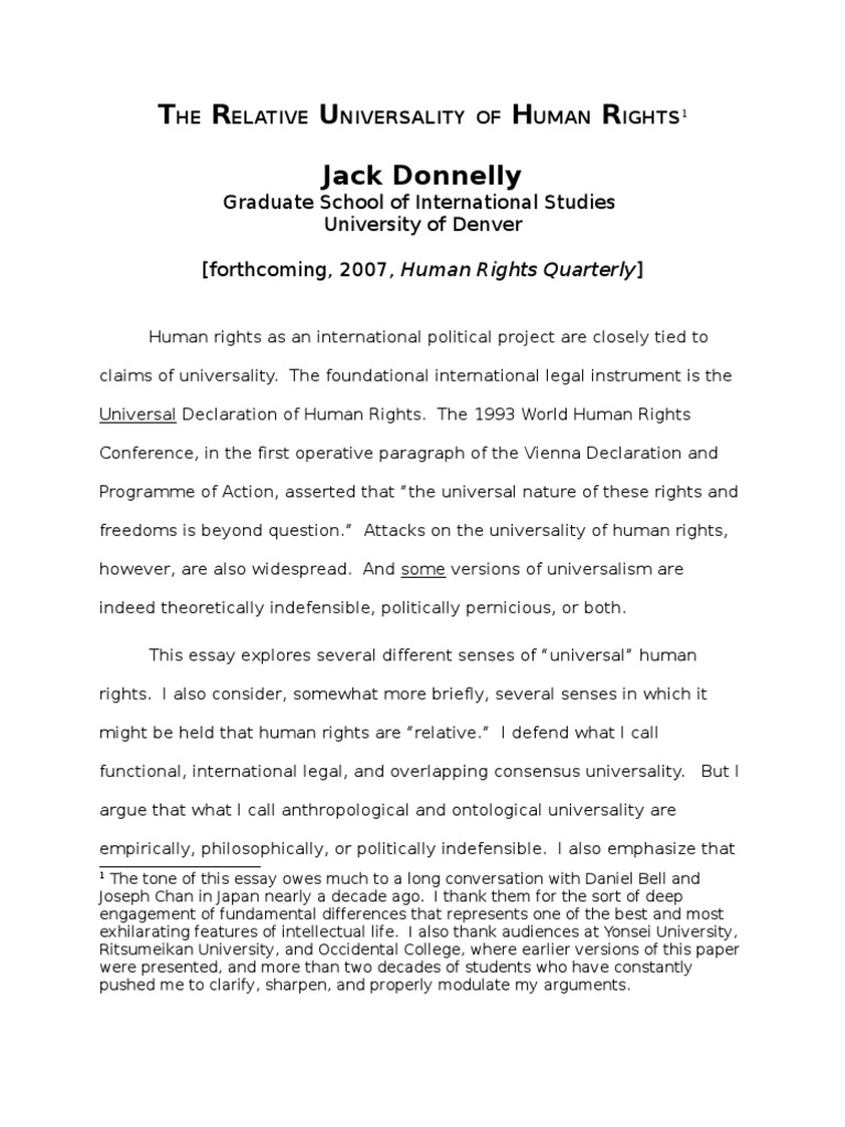 essay on human rights human rights violation essay human rights  jack donnelly the relative universality of human rights