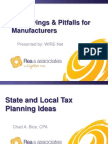 Tax Savings & Pitfalls for Manufacturers