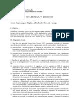 Segurança e Máquinas de Panificação, Mercearia e Açougue. Nota Técnica N° 94/DSST/MTE/2009
