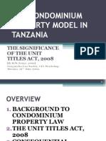 tenga, ringo w. The Condominium Property Model in Tanzania. TLS June 2009