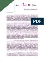 Carta de organizaciones a Legisladores