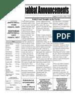 Shabbat Announcements, August 29, 2009