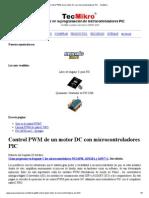Control PWM de Un Motor DC Con Microcontroladores PIC - TecMikro