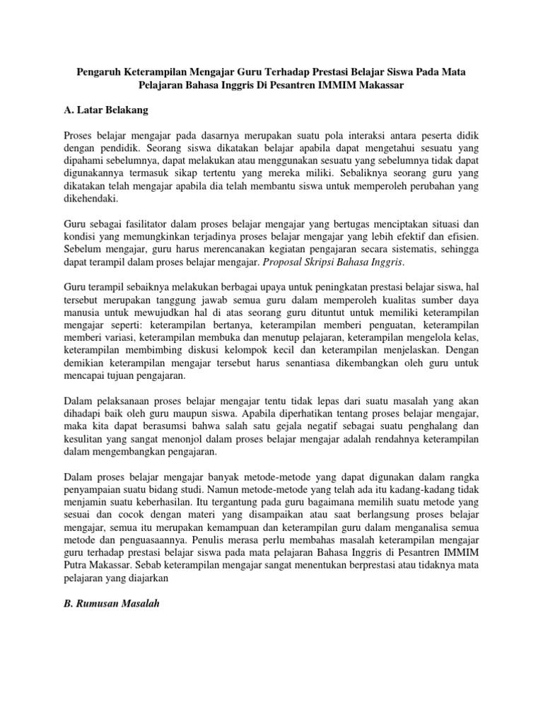 Contoh Proposal Fakultas Bahasa Inggris