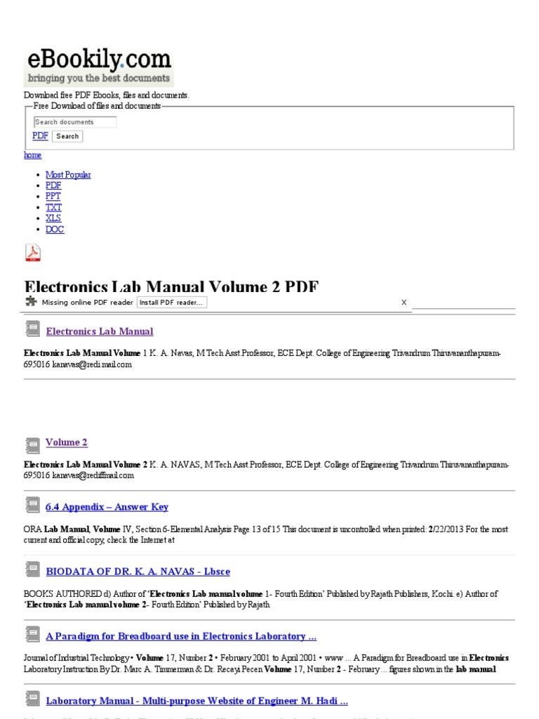 Laboratory manual pdf daily instruction manual guides electronics lab manual volume 2 free pdf downloads electronics rh scribd com fusarium laboratory manual pdf laboratory manual pdf science explorer fandeluxe Gallery