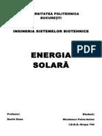 Energia solară. Celule fotovoltaice