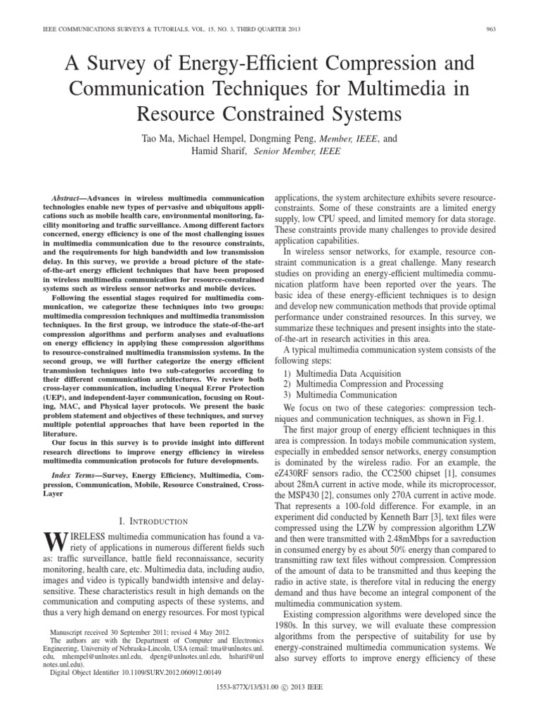 A Survey Of Energy Efficient Compression And Communication Jpegsoftware Concept Circuit Board With Programming Techniques For Multimedia In Resource Constrained Systems Data H264 Mpeg 4 Avc
