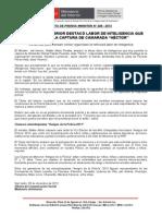 """09.12.13 - MINISTRO DEL INTERIOR DESTACÓ LABOR DE INTELIGENCIA QUE PERMITIÓ LA CAPTURA DE CAMARADA """"HÉCTOR"""""""