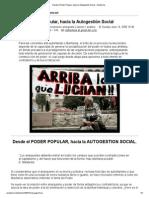 Desde el Poder Popular, hacia la Autogestión Social - Anarkismo