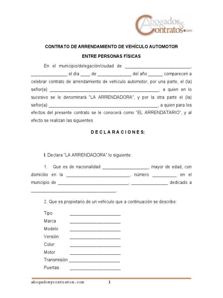 Contrato Arrendamiento Vehiculo Entre 2 Personas Fisicas