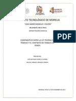 Comparación entre LFT y contrato de trabajo de Pemex GERENCIAL 2013