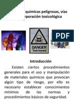 Sustancias químicas peligrosas, vías de incorporación toxicológica