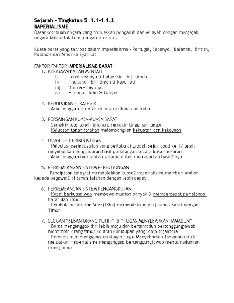 Sejarah Nota Tingkatan 5 Bab 1 1 1 1 2