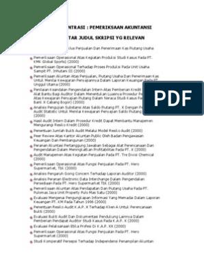 Konsentrasi Auditing Daftar Judul Skripsi Docx