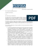 Pedido de audiencia a la presidenta Cristina Fernández