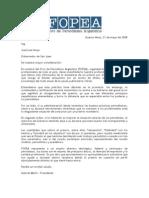 Carta de FOPEA al gobernador de San Juan, José Luis Gioja