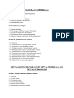 List of Topics in Dental Materials- Umer Javed
