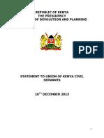 STATEMENT TO UNION OF KENYA CIVIL SERVANTS