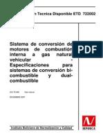 Norma Boliviana Para La Conversion a GNV ETD722002