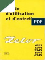 Zetor 4911 5911 5945 6911 6945 Guide Utilisation Entretien