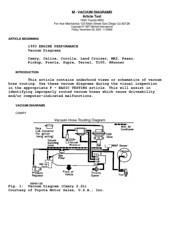 1993 toyota vacuum diagrams | toyota | rear wheel drive vehicles  scribd