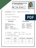 Format of UG (B.tech.) Resume BK.....