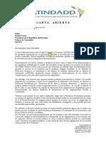 Carta a Presidente Correa LATINDADD