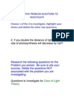 final summative problem questions to investigate