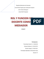 Rol y función del docente como mediador en el proceso de enseñanza y aprendizaje