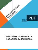 REACCIONES DE ÁCIDOS CARBOXILICOS