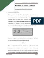 TRANSFORMACIONES DE GALILEO Y LORENTZ