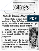 Martin to Announce Mayoral Candidacy