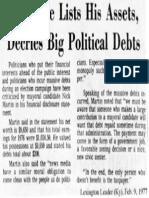 Candidate lists his assets, decries big political debts