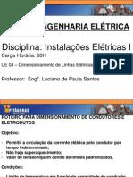 UE 4 - Dimensionamento de Linhas Elétricas - Instalações Elétricas I