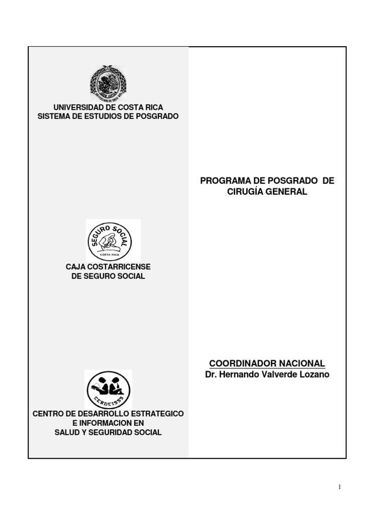 Pensum Cirugia Universidad de Costa Rica