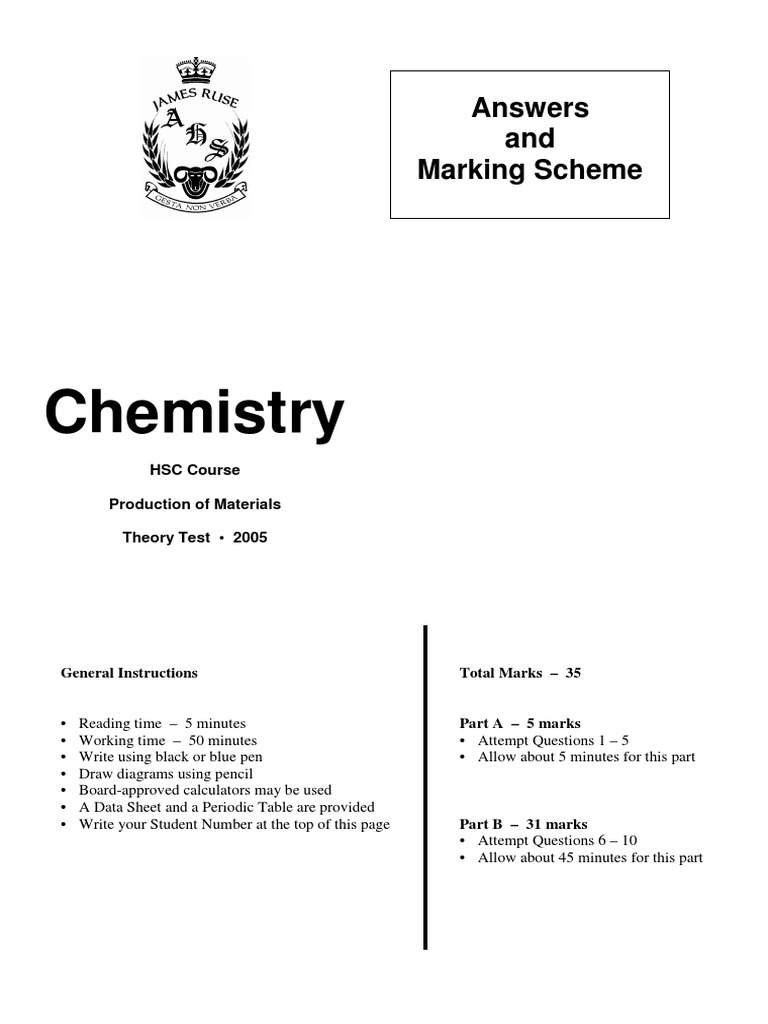 JR Term 3 Chemistry 2005 Answers | Biopolymer | Hydrogen