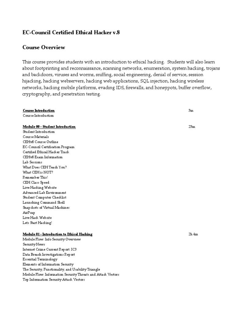ECC-CEHv8 | Denial Of Service Attack | Computer Virus